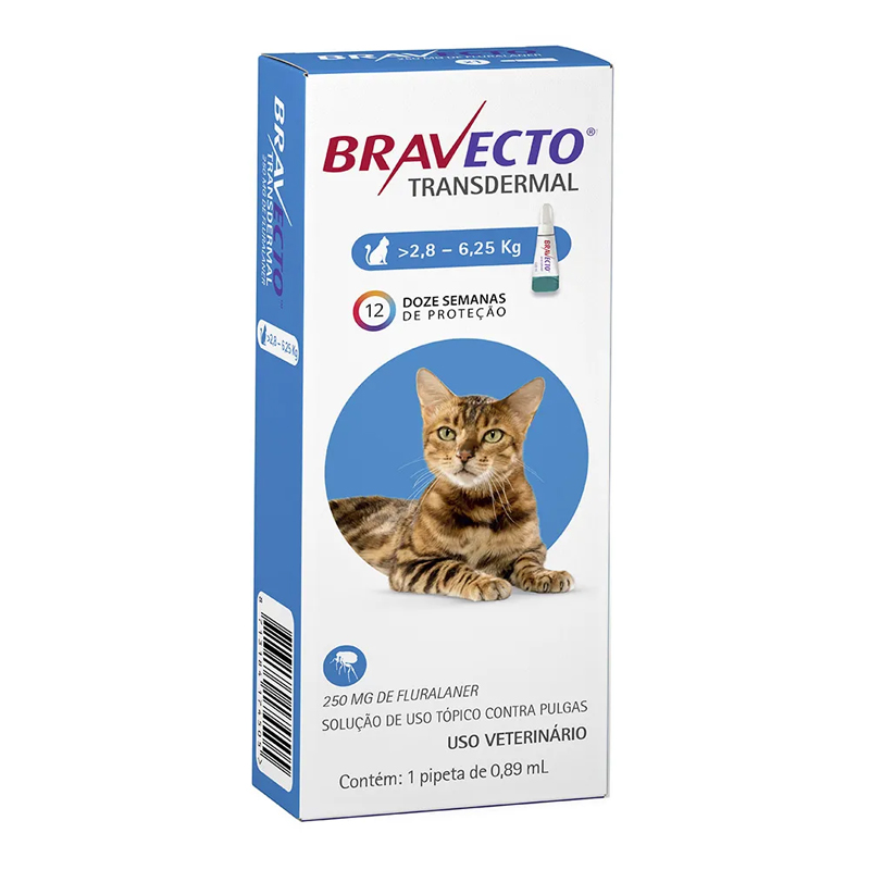 BRAVECTO TRANSDERMAL GATOS 250MG 6,25KG AZUL